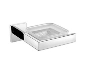 Angle Simple GD3206 Bathroom Lavatory Soap Dish Holder with Glass Dish, Polished Stainless Steel