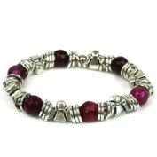 GUARDIAN ANGEL Bracelet - Silver Metal & Fuchsia Beading Detail - Gift Box included