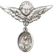 Sterling Silver Baby Badge with St. Malachy O'More Charm and Angel w/Wings Badge Pin 2.9cm X 2.9cm