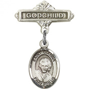 Sterling Silver Baby Badge with St. Gianna Beretta Molla Charm and Godchild Badge Pin 2.5cm X 1.6cm