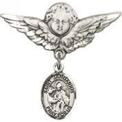Sterling Silver Baby Badge with St. Januarius Charm and Angel w/Wings Badge Pin 2.9cm X 2.9cm