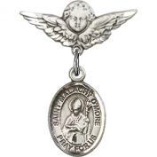 Sterling Silver Baby Badge with St. Malachy O'More Charm and Angel w/Wings Badge Pin 2.2cm X 1.9cm