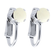 1.30 Ct Round Cabouchon White Opal 925 Sterling Silver Clip On Earrings