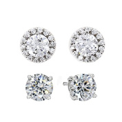 Sterling Silver Platinum Plated. Zirconia Round and Halo Set Stud Earrings