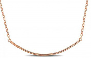 Bar Pendant Necklace .925 Sterling Silver Gold Tone Curved Horizontal Design 16