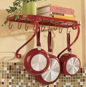 VDOMUS® Kitchen Wall Holder Bracket Rack It Up Bookshelf Wall Rack, Utensil Bar Pot Rack, with 10 Hooks-Red