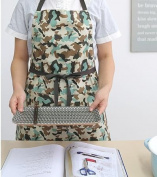 Housewarming Apron Gift for Women Japanese Cross Front Military Cotton Apron H:43cm -Green Brown Colour