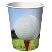 Club Pack of 96 Sports Fanatic Golf Disposable Paper Hot and Cold Drinking Party Cups 270ml