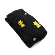 Black Small Bear Print Knitting Cotton Stockings Pantyhose for Kids(Size