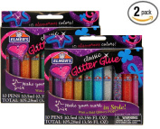 Elmer's 3D Washable Glitter Pens, Classic Rainbow and Glitter Colours,2 Pack of 10 Pens