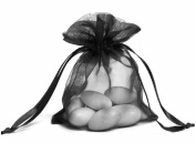 100pcs Black Organza Drawstring Pouches Jewellery Party Wedding Favour Gift Bags 10cm x 13cm