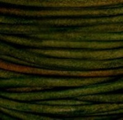"#408 Natural Dark Green Round Leather Cord 1.5mm (1/16"") x 10 m"