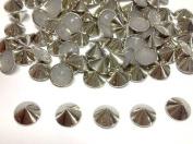 100pcs 8mm Silver Hotfix Cone Spike Studs, Punk, DIY Fashion Gems, Stick On
