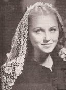 Vintage Crochet PATTERN to make - Mantilla Fascinator Scarf Shawl Head Covering. NOT a finished item. This is a pattern and/or instructions to make the item only.
