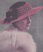 Vintage Crochet PATTERN to make - Picture Hat Sun Summer Wedding Party. NOT a finished item. This is a pattern and/or instructions to make the item only.