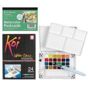 A.I. Friedman Sakura Koi Watercolour Field Set plus Strathmore Watercolour Postcard Kit