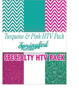 TURQUOISE & PINK HTV SPECIAL PACK #1 Chevron Pattern, Colour and Glitterflex HTV for T-Shirts!