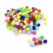 200 Pcs 10mm Dia Plush Colourful Pom Ball Sew On Clothes Trousers Bags