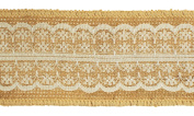 Trimweaver 2-Yard Natural Burlap with White Lace Ribbon for Craft, 6.4cm