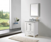 Virtu USA GS-50024-WMRO-WH Transitional 60cm Single Sink Bathroom Vanity Set, White