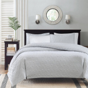 Madison Park Quebec Dusty Pale Blue 3-Piece Quilted King Coverlet Set—For King or Cal King Bed –Ideal For Warm Climate Room Décor or Add-on For Extra Warmth