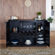 Wine BAR Buffet and Storage Cabinet with Centre Glass and Wine Rack, Side Shelves, and Open Focal Point Shelf
