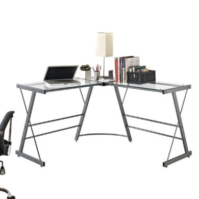 Altra Odin Glass L-Shaped Computer Desk, Grey