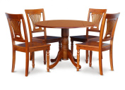 East West Furniture DLPL5-SBR-W 5-Piece Kitchen Nook Dining Table Set, Cappuccino Finish