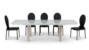 Montez White Glass Extendable Modern Dining Table - Seats Eight