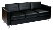 Ave Six PAC53-V18 Pacific Easy-Care Black Faux Leather Sofa Couch with Spring Seats and Silver Colour Legs