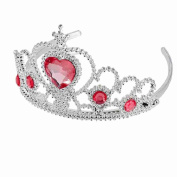 Move & Moving(TM) Woman Party Heart Round Rhinestone Crown Headband Hair Band, Red
