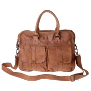 Leather bag garment-dyed vintage style 2 handles strap DUDU Nut Brown
