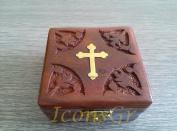Handmade Christian Orthodox Wooden Olive Wood Storage Box with Decorative Cro...