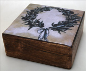 Handmade Greek Wooden Wood Box with the Olive Wreath / R31_3