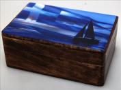 Handmade Greek Wooden Wood Box with Greek Flag / R32_2