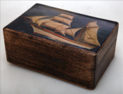 Handmade Greek Wooden Wood Box with Greek Commercial Ship / R32