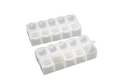 Pack of 2 Small 10 Compartment Frosted Plastic Organiser