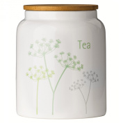 Cow Parsley Tea Canister by Premier Housewares Dolomite with Bamboo Lid, NEW design for 2015 to brighten up any home
