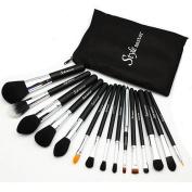 Stylemaster Professional Makeup Brush Set - Foundation Concealer Blending Blush Brush Face Powder Eyebrow & Eyeshadow Brush Cosmetics Tool Kit -15PCS Black Silver