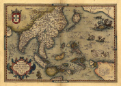 Reproduction Antique Map of Asia, Japan, (India, South East Asia, Indonesia, New Guinea, North West America, Malaysia), by Abraham Ortelius A1 Size 78 x 57 cm