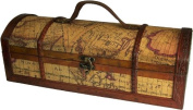 wooden Antique Style Winebox Level Map Design Holds 1 bottle