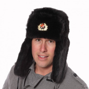 Black Faux Fur Russian Ushanka Hat. 59cm Trapper hat removable soviet badge.