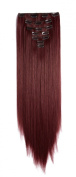 OneDor 60cm Straight Full Head Kanekalon Futura Heat Resistance Hair Extensions Clip on in Hairpieces 7pcs 140g