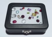 Black Leatherette Glass Top Gem Box Loose Stone Jewellery Case Display with Clasp
