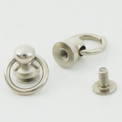 "Bluemoona 50 Sets - Plated Brass Head Button O-ring 3/8"" 10mm Stud Screwback with Screw"