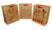Holiday Merry Christmas Kraft 3 Pack Gift Bag 24cm x 20cm x 4.1590cm