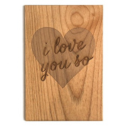 "Cardtorial Sustainable Wood, Handprinted 10cm x 15cm I Love You So"" Anniversary Card"