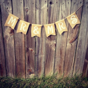 Burlap 'Mr & Mrs' Banner for Rustic Weddings or Events