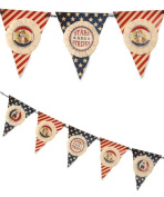Bethany Lowe Vintage Style Stars and Stripes Patriotic Pennant Garland