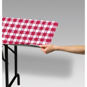 Club Pack of 12 Red and White Gingham Disposable Rectangle Plastic Banquet Party Table Covers 180cm